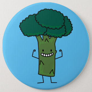 Broccoli Flexing happy tree head green vegetable Button