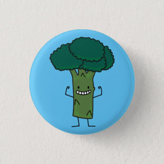 Broccoli Flexing happy tree head green vegetable Pinback Button