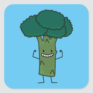 Broccoli Flexing happy tree head green vegetable Square Sticker