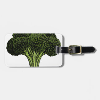 Broccoli vintage woodcut illustration travel bag tag