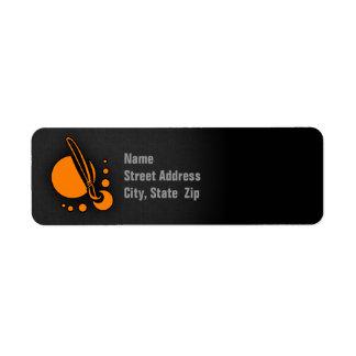 Brocha anaranjada del artista etiqueta de remite