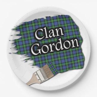 Brocha escocesa del tartán de Gordon del clan Plato De Papel De 9 Pulgadas