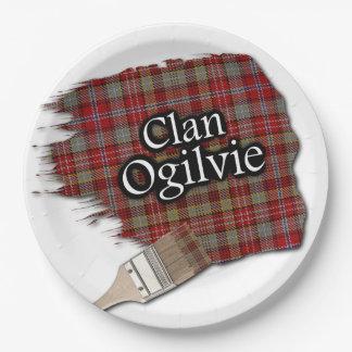 Brocha escocesa del tartán de Ogilvie del clan Plato De Papel De 9 Pulgadas