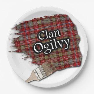 Brocha escocesa del tartán de Ogilvy del clan Plato De Papel De 9 Pulgadas