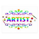 Brocha y diseño del artista tarjeta postal