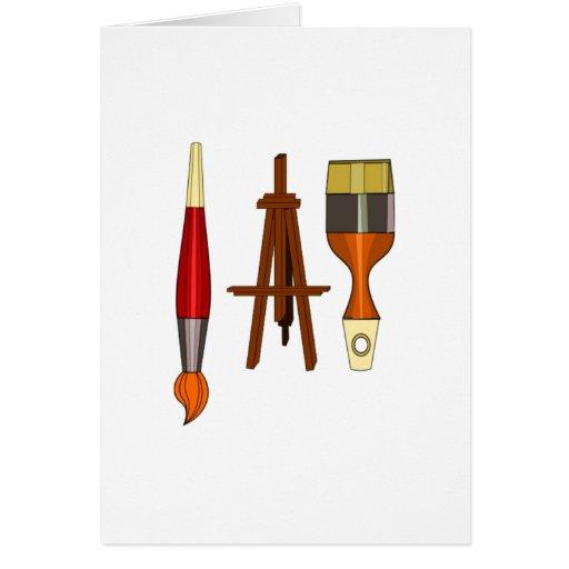 Brochas y caballete del arte tarjeta pequeña