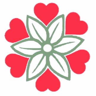 Broche de acrílico de la flor roja de los corazone esculturas fotograficas