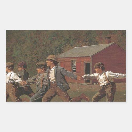 Broche de Winslow Homer el azote Rectangular Pegatinas