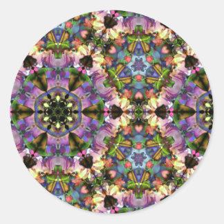 Broche psicodélica del triángulo púrpura/azul del pegatina redonda