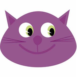 Broche púrpura del gato escultura fotográfica