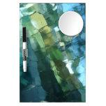 Brocken blue glass dry erase whiteboard