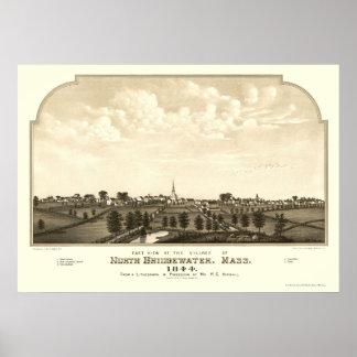 Brockton, MA Panoramic Map - 1844 Poster