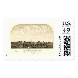 Brockton, MA Panoramic Map - 1844 Stamp