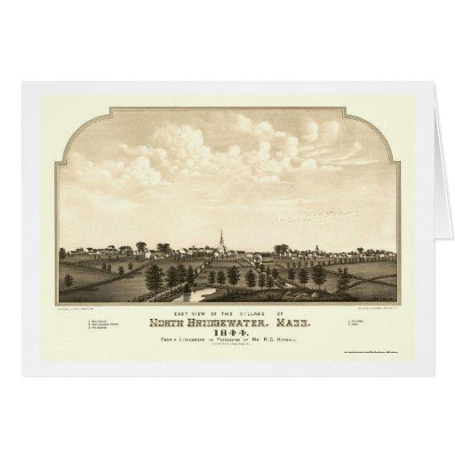 Brockton, mapa panorámico del mA - 1844 Tarjetón