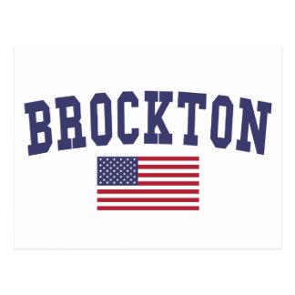 Brockton US Flag Postcard