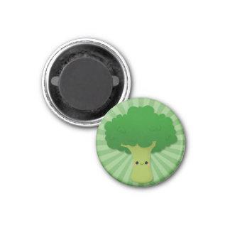 Bróculi de Kawaii en Starburst verde Iman De Frigorífico