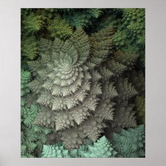 bróculi del fractal 3D Póster