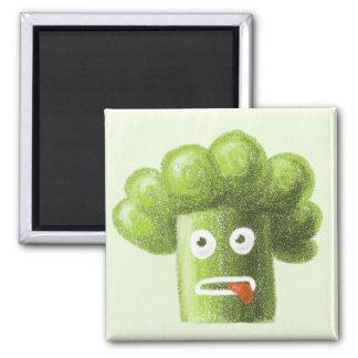 Bróculi divertido del dibujo animado imán cuadrado