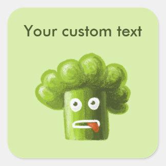 Bróculi divertido del dibujo animado pegatina cuadrada
