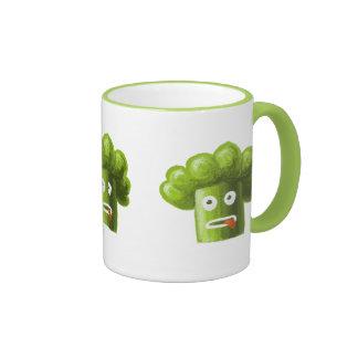 Bróculi divertido del dibujo animado taza de dos colores