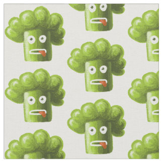 Bróculi divertido del dibujo animado tela