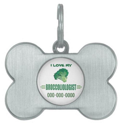 Bróculi divertido placas de mascota