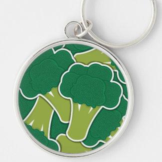 Bróculi enrrollado llavero redondo plateado