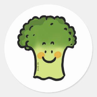 Bróculi lindo pegatina redonda