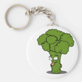 Bróculi vegetal sano llavero redondo tipo pin