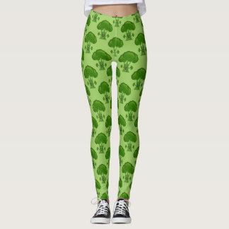 Bróculi verde feliz leggings