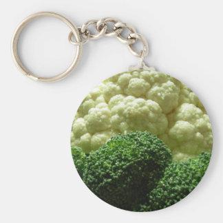 Bróculi y coliflor llavero redondo tipo pin