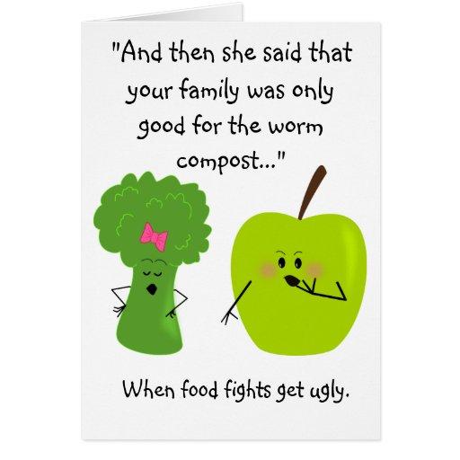 Bróculi y tarjeta divertida del Día de la Tierra