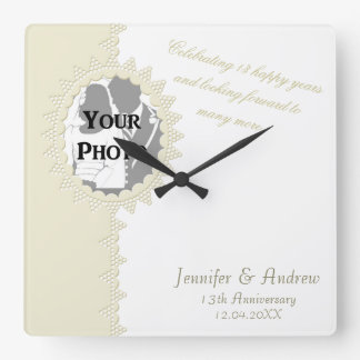 Broderie Anglaise Lace Style Photo Anniversary Square Wall Clock
