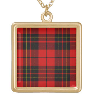 Brodie clan tartan red black plaid gold plated necklace