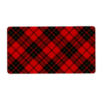 Brodie clan tartan red black plaid label