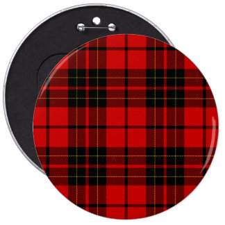 Brodie clan tartan red black plaid pinback button
