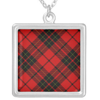 Brodie clan tartan red black plaid silver plated necklace