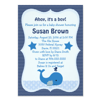 Brody Whale Nautical Baby Shower Invitation