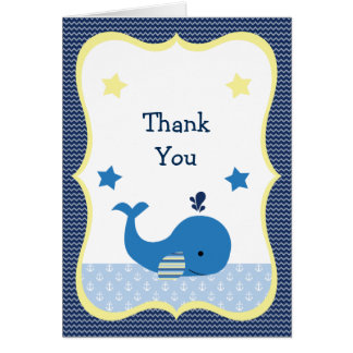 Brody Whale Nautical Baby Shower Thank You card