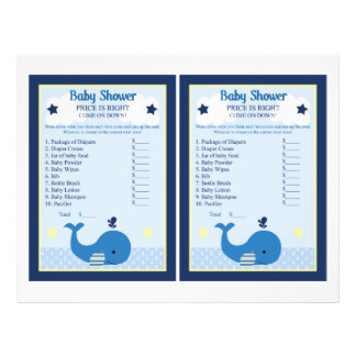 Brody Whale Nautical Price Game Baby Shower Flyer