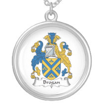 Brogan Family Crest Silver Plated Necklace