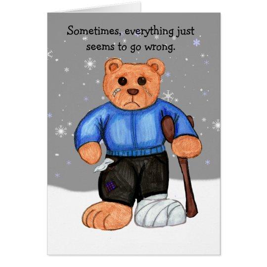 Broke Bear Encouragement Card with Scripture