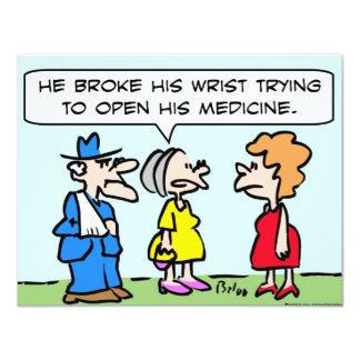 "broke wrist open medicine 4.25"" x 5.5"" invitation card"