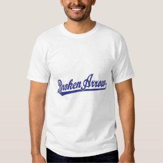Broken Arrow script logo in blue Tee Shirt