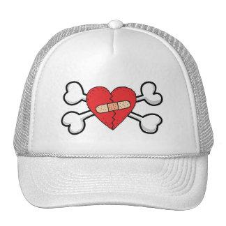 broken bandage heart Skull and Crossbones Trucker Hat
