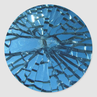 Broken Blue Glass Classic Round Sticker