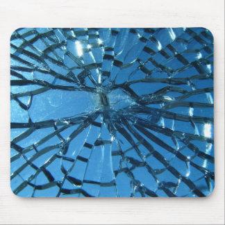 Broken Blue Glass Mouse Pad