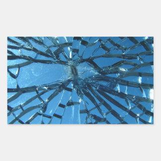 Broken Blue Glass Rectangular Sticker