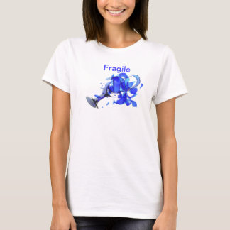 broken blue wine glass with word fragile T-Shirt