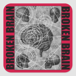 broken brain square sticker